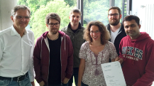 Prof. Reiterer, Johannes Zagermann, Christoph Schulz, Ulrike Pfeil, Alexander Schönhals and Ayush Kumer (from left to right) during a research seminar by the HCI group of the University of Konstanz.
