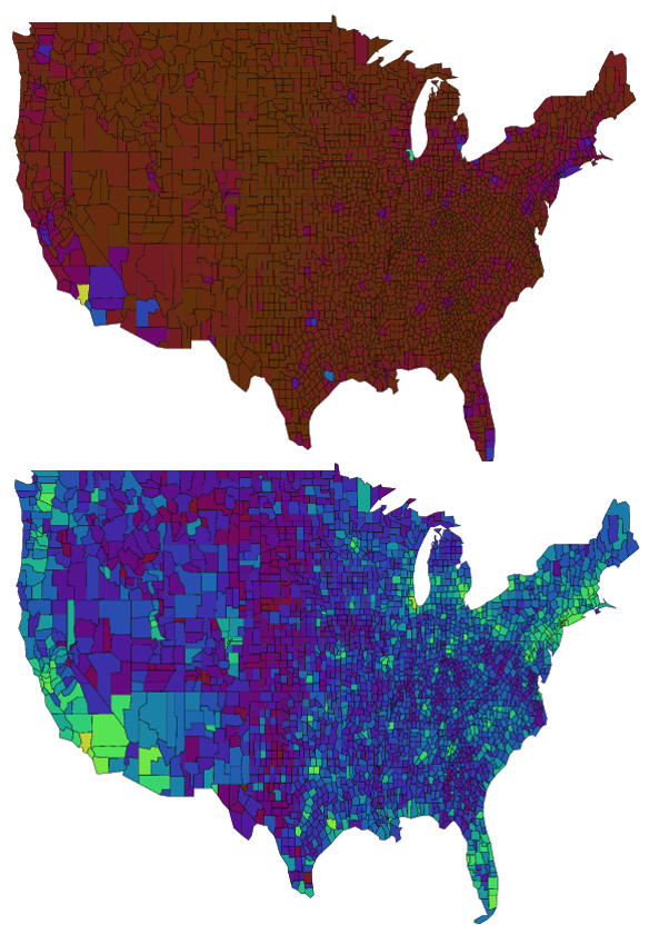 Map visualization with original (top) and transformed (bottom) data.