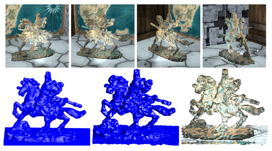 Results on synthetic data with semi-reflective statue of Warrior. Top images depict center views of corresponding input light fields. Bottom resulting geometry.